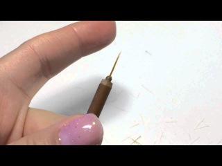 Как сделать кисть для вензелей? Дизайн ногтей - вензеля. Гель-краска E.mi , гель-лак металик.