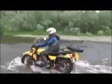 Экстремальная переправа через реку на мотоциклах с коляской