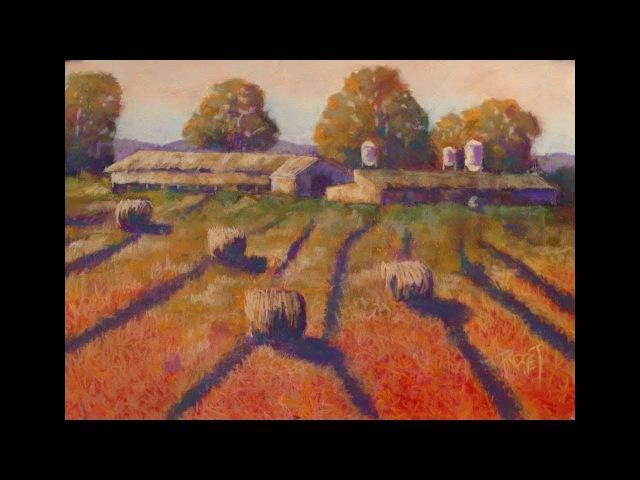 Графика мягкой пастелью в стиле импрессионистов. Пейзаж. Осеннее поле