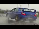 Subaru Impreza WRX STi Powersliding on Wet