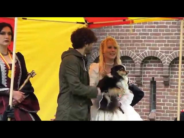 Alexander Vlahos vs. a dog @Elfia (Elf Fantasy Fair) 2014
