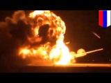 Российский бомбардировщик взрывается перед взлётом