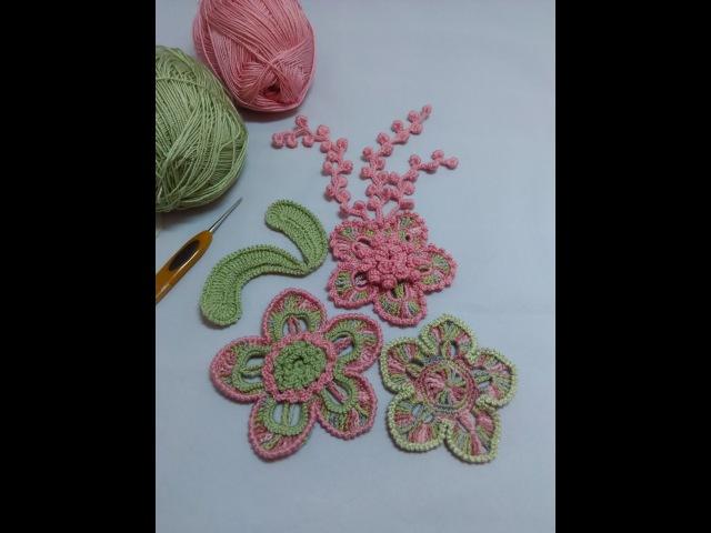 Вязание веточки с узелками