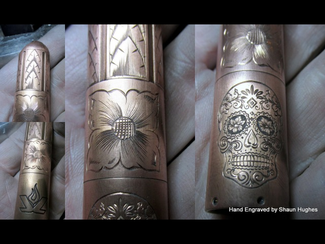 Hand Engraved Copper Lenslight Torch Sugar Skull by Shaun Hughes