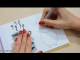 DIY Рисую в технике дудлинг ЧАШКА КОФЕ и СОВА  Скетчбук, SketchBOOK Doodling