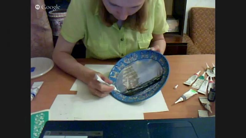 Екатерина Назаренко керам-я тарелка двушаговый кракелюр без особых затрат.