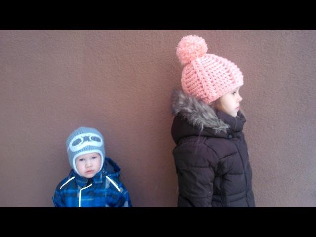 Две Вязаные Детские шапочки крючком Crochet winter children hats