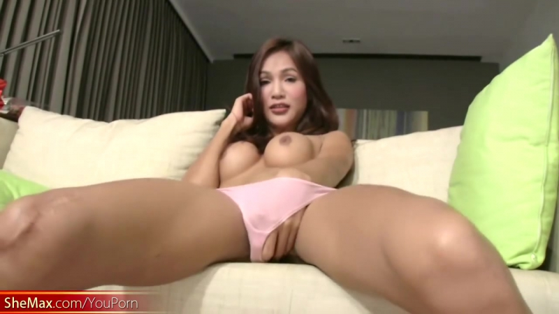 Long haired ladyboy in pink panties jerks off her big dick shemale trans
