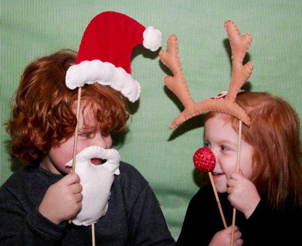 圣诞节不织布手持圣诞老人 驯鹿小装饰制作教程