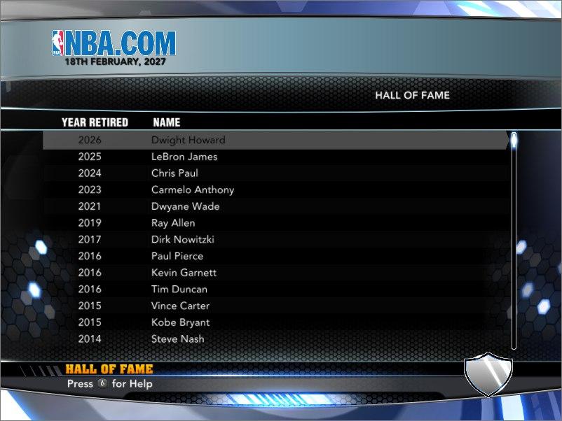 HALL OF FAME NBA2K14