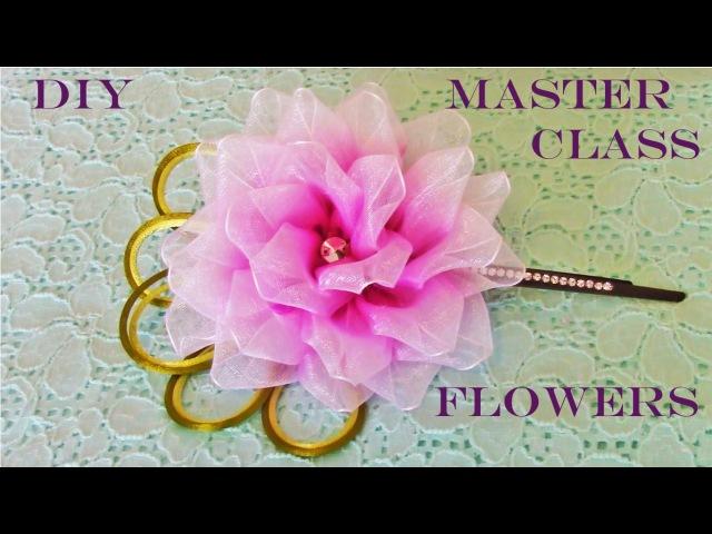 DIY Kanzashi flores en cintas matizadas de organza - Kanzashi flowers in organza ribbons