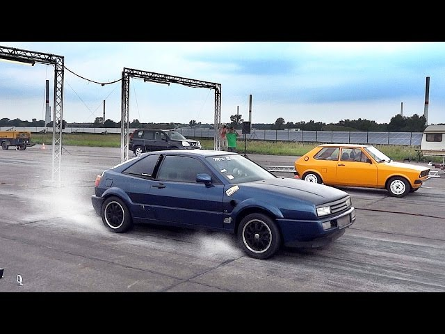 VW Corrado VR6 Twin Engine Turbo Sound Drag Race Acceleration