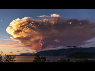 Timelapse: извержение вулкана Кальбуко в Чили