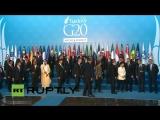 Анталья. Саммит G20: Обама пришёл первым и построил всех в очередь жать ему руку. А Путин как обычно по бабам :-) 15.11.2015.