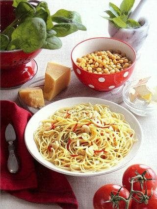 Фото рецепта: Спагетти с оливковым маслом, чесноком и пеперончино