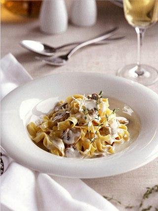 Фото рецепта: Тальятелле со сливочно-грибным соусом
