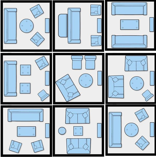 9 схем расположения мебели в