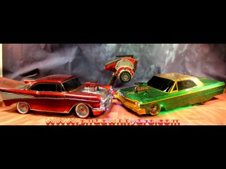 OLD School RC DRIFT Cars PITDAWG HYdro 57 chevy and 64 Impala