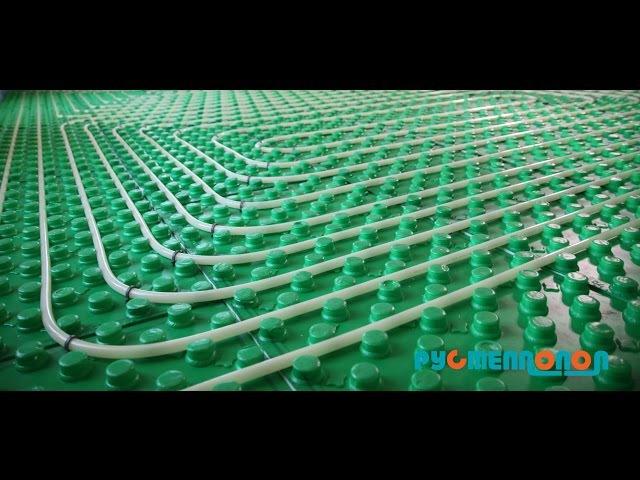 Теплый пол, монтаж системы отопления водяной теплый пол, цемент-песчаная стяжка.