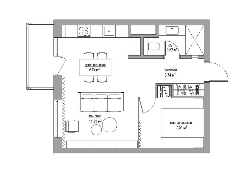 Проект квартиры 36 м.