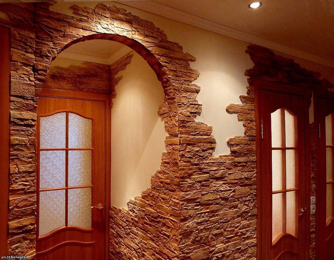 Интерьер из искусственного камня фото