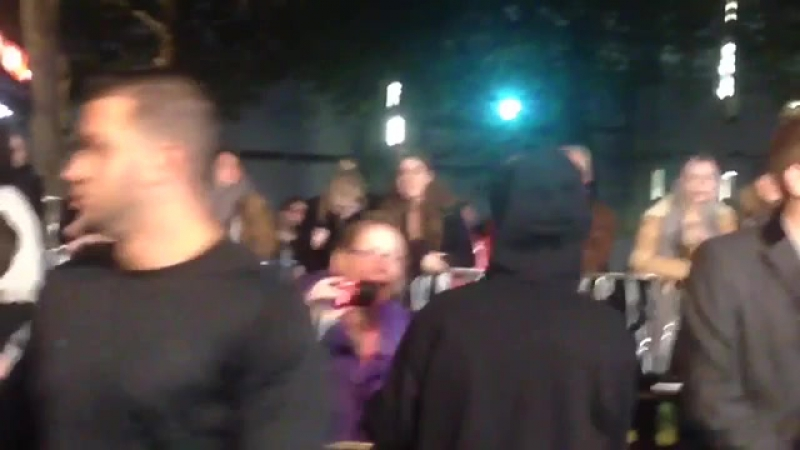 October 22 Fan taken video of Justin at the 'Ed Sheeran Jumpers For Goalposts' premiere in London, England