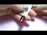Простой дизайн ногтей неоновым пигментом, сердечки, на 14 февраля