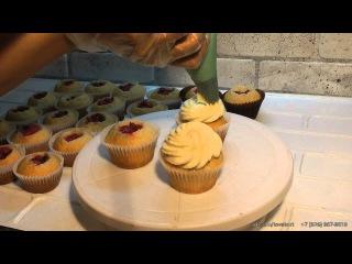 Приготовление кексов. Кексы с кремом. Маффины. Капкейки. Cooking cupcakes. Muffins