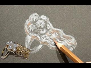 """Золотое кольцо """"Медуза"""" от эскиза до готового изделия процесс"""