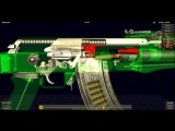 Россия. Щит и Меч. Работа систем автомата АК-74 в 3D. How Does The AK-47 Work - 3D Animation Model