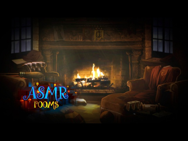 Harry Potter ASMR - Gryffindor Common Room - Ambient sound white noise (rain, fire place etc) - HD