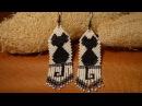 Серьги из бисера Черная кошка Мастер класс Earrings from beads Beading