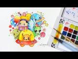 Doodling ~ Space Adventure Sakura Koi Watercolors
