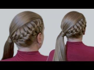 Как Делать Прически Видео Урок: Красивая Коса и Хвост из Длинных Волос  Jessica Alba's Hairstyle