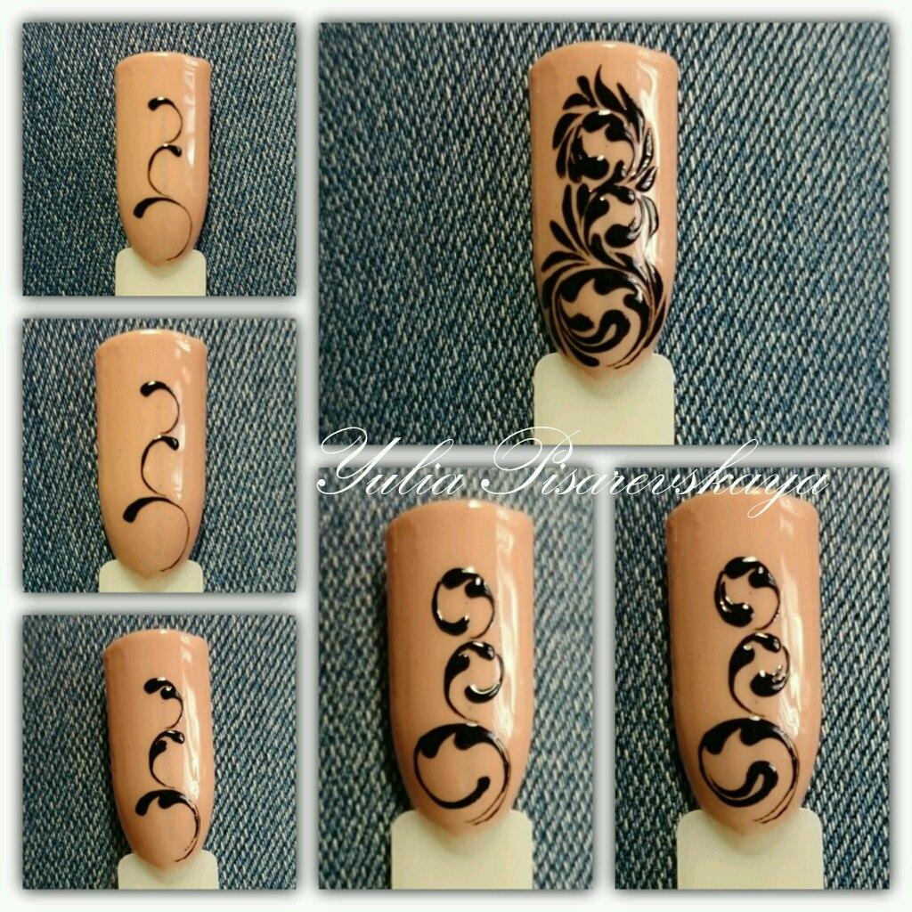 Вензеля на ногтях пошагово схемы