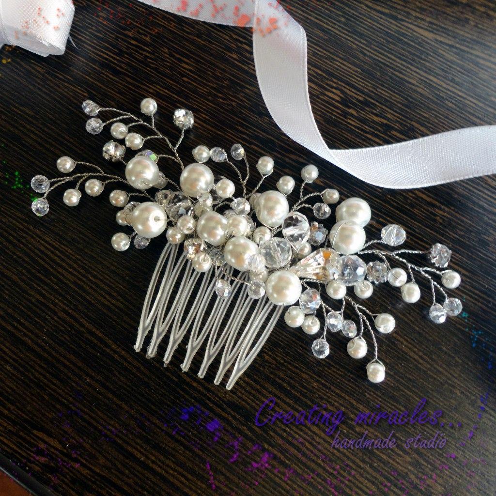 Свадебное украшение на волосы из бусин своими руками