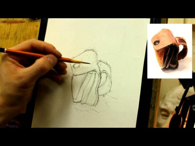 Обучение рисунку. Введение. 19 серия упражнения (рисуем кошелек)