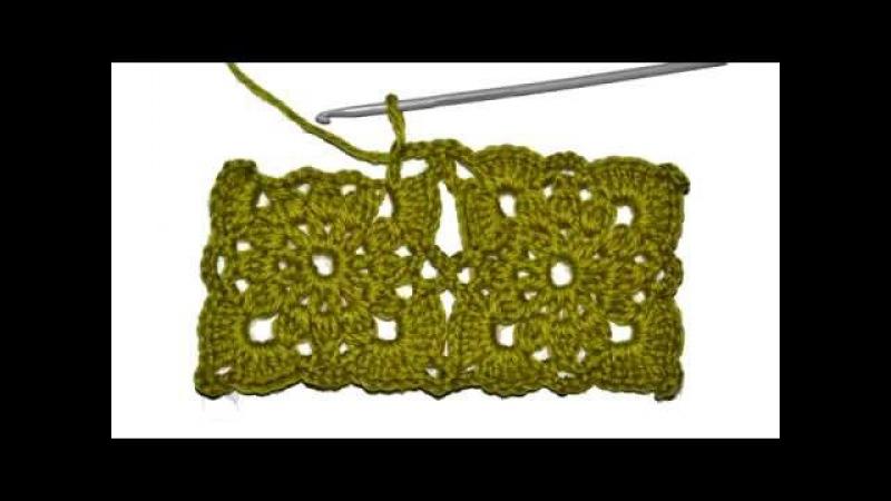 Безотрывное Вязание Крючком. Квадратные мотивы. Crochet without cutting the thread.