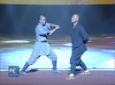 Shaolin Iron Skill Kung Fu Monk breaks stick with neck