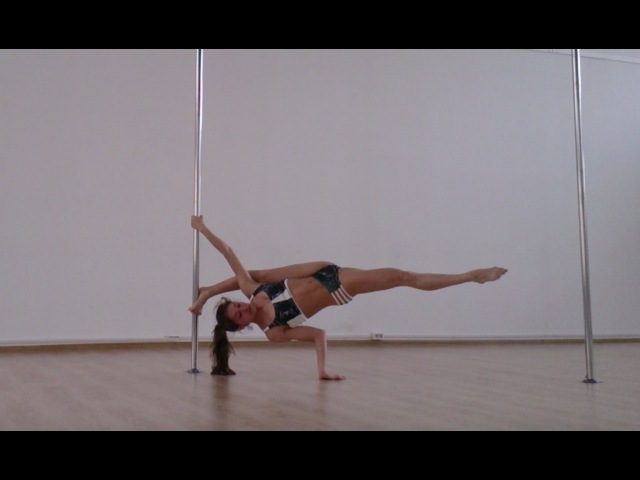 Стойка-шпагат у пилона - обучающее видео (Pole Handstand Split Variations Tutorial in Russian)