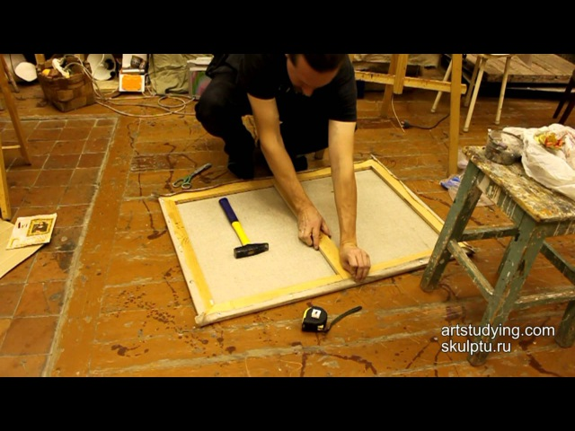 Как натянуть холст на подрамник и загрунтовать его - Обучение живописи. Масло. Вв » Freewka.com - Смотреть онлайн в хорощем качестве