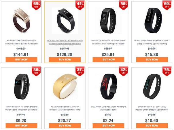 GearBest: Акция со скидками на смарт-браслеты, умные часы и аксессуары к ним!!