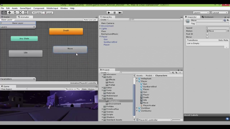 Unity 3d 4.6 Survival Shooter Урок 2, часть 1-2