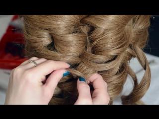 Пучок из волос на средние и длинные волосы. Свадебная прическа. Техника кирпичики