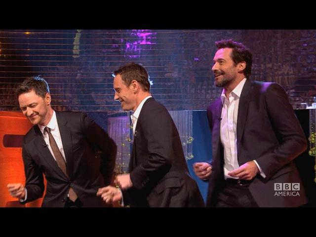 HUGH JACKMAN, MICHAEL FASSBENDER JAMES McAVOYs Blurred Lines Dance - The Graham Norton Show BBCA
