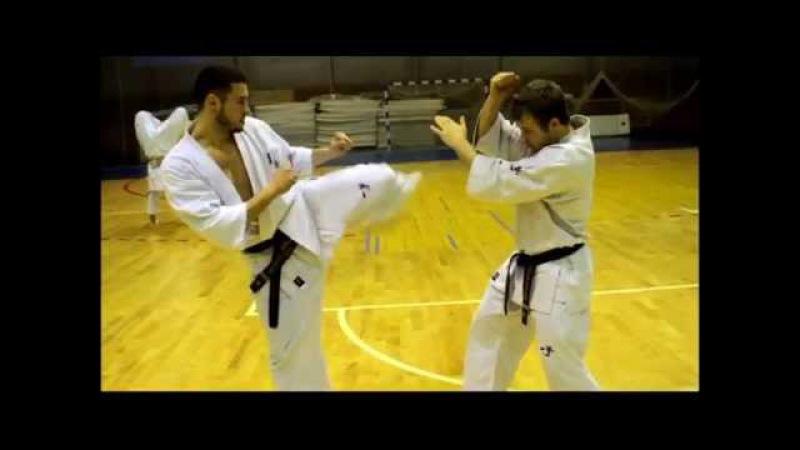 Kaiten mawashi geri - feint mawashi geri (round kick)