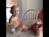 Peanut butter kid knows how to have a good time.
