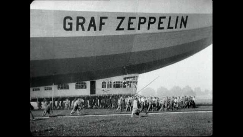 Airship Zeppelins flight to Berlin, Germany in 1929