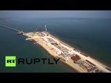 Россия: Дрон захватывает более 1000 метров моста до Крымского полуострова.