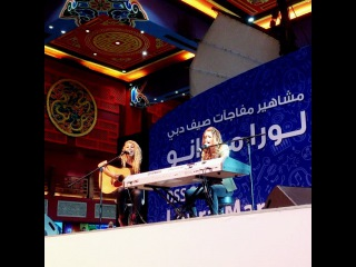 """Dubai Summer Surprises on Instagram: """"Let the show begin! @lauramarano and her lovely guitarist Ally have taken the stage here at Ibn Battuta Mall, and the crowd is loving it!…"""""""